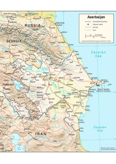 CIA Map of Azerbaijan 2004 (Physiography) Print/Poster (5211)